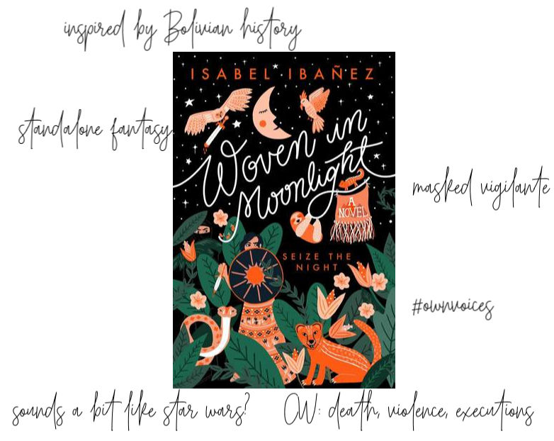 Woven in Moonlight cover and key points: inspired by Bolivian history, standalone fantasy, masked vigilante, CW: death, violence, executions